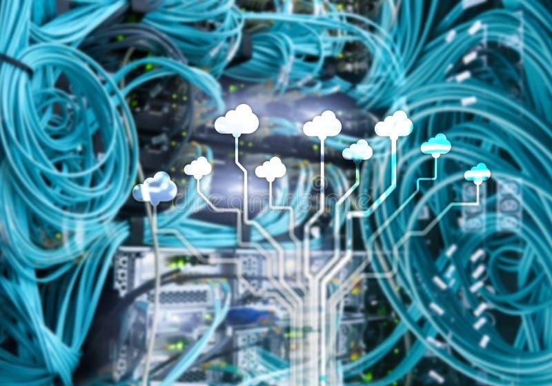 覆盖服务器和计算,数据存储和处理 互联网和技术概念 皇族释放例证