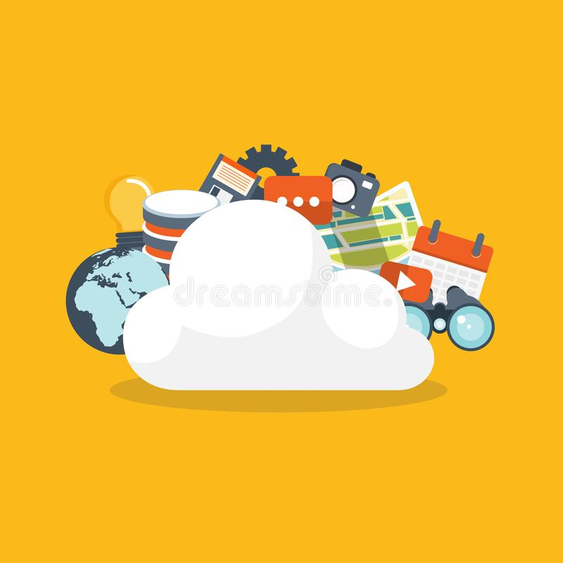 覆盖沟通的计算机计算的概念膝上型计算机被找出的资源 数据存储网络技术 多媒体内容,网站主持 库存例证