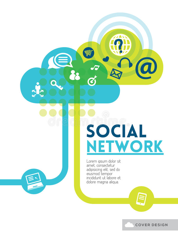 覆盖社会媒介网络概念背景设计版面 向量例证