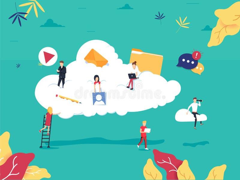 覆盖计算的服务和技术,数据存储平的例证 网络数据存储设计 库存例证