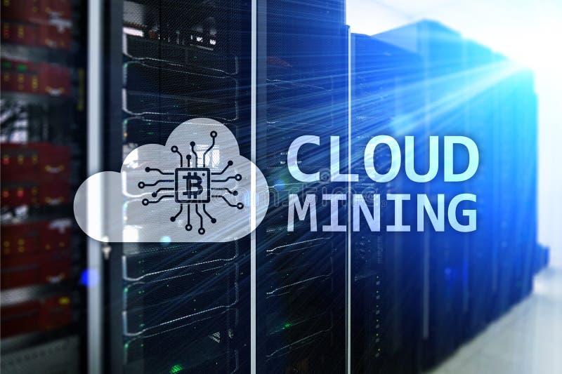 覆盖计算,数据或者cryptocurrency Bitcoin, Ethereum采矿在数据中心 服务器室背景 库存例证