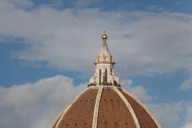 覆以圆顶佛罗伦萨大教堂的` s片段 托斯卡纳 意大利 免版税库存照片
