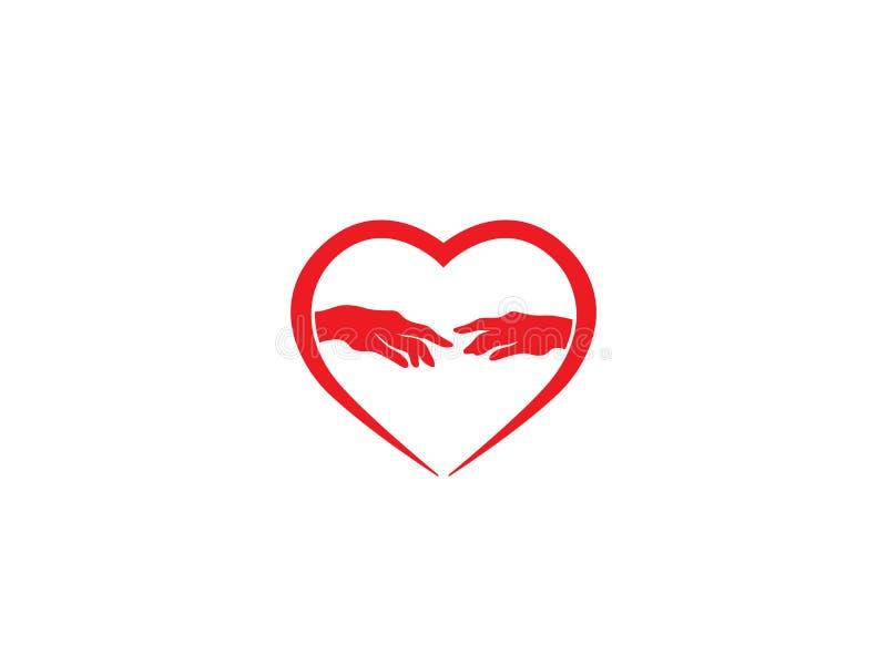 见面为商标设计的心脏和手 皇族释放例证