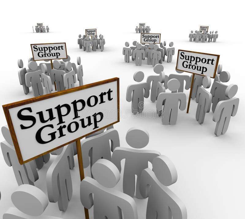 见面在标志帮助疗法Communica附近的支持组人 库存例证