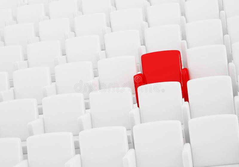 观众席红色位子 向量例证