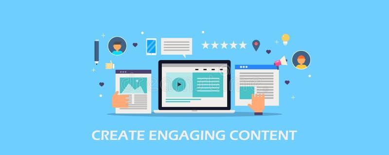 观众的Create允诺的内容,文稿写作, blogging,博克岗位,录影内容,社会媒介概念 平的设计横幅 皇族释放例证