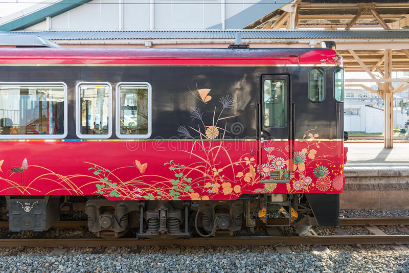 观光的火车观光的火车Hanayome Noren外部  免版税图库摄影