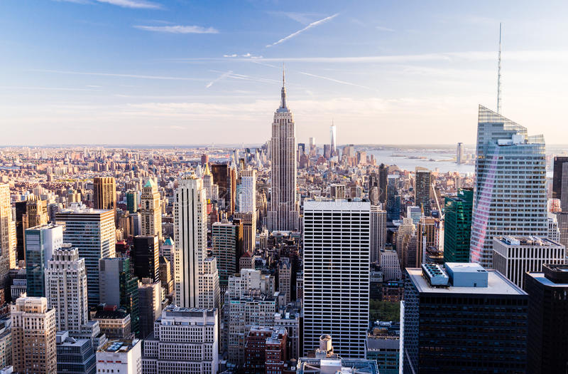 从观察台的曼哈顿洛克菲勒中心的,纽约 免版税图库摄影