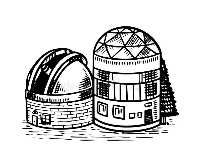 观察星、行星和空间的观测所 象征的天文在葡萄酒样式的剪影或商标 ?? 向量例证