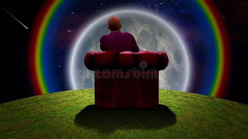 观察月亮 皇族释放例证