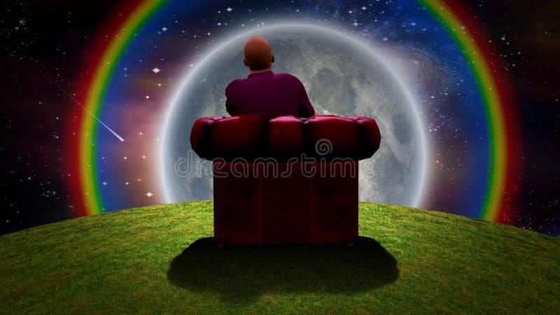 观察月亮 向量例证