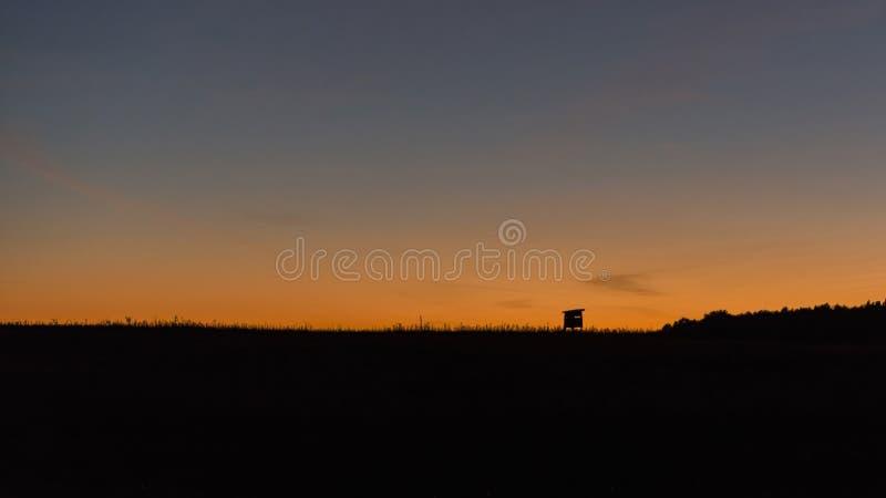 观察的野生生物狩猎塔在天际和五颜六色的日落 免版税图库摄影