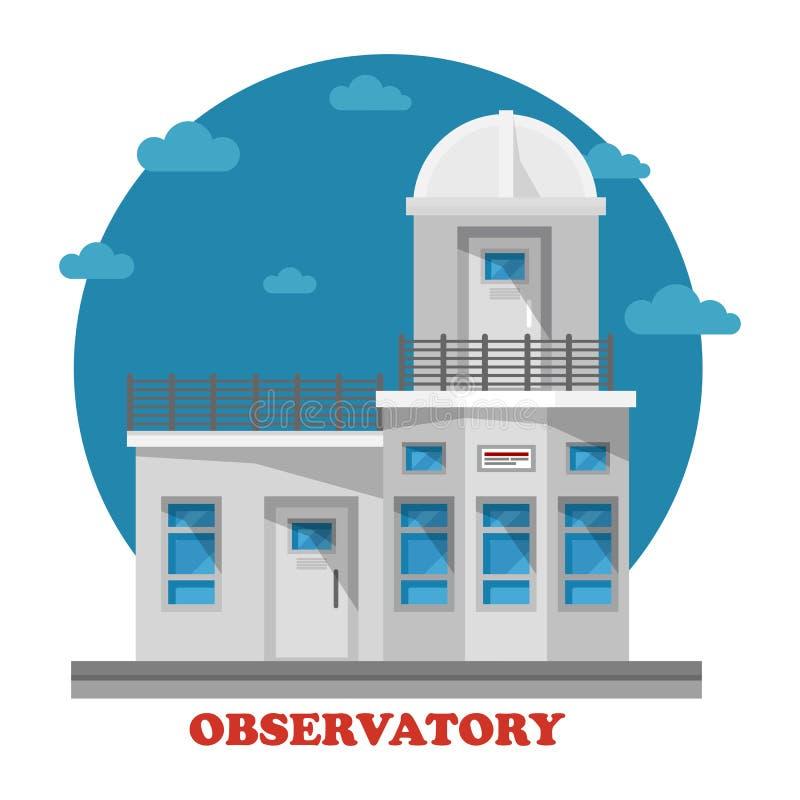 观测所大厦在与望远镜的晚上 皇族释放例证