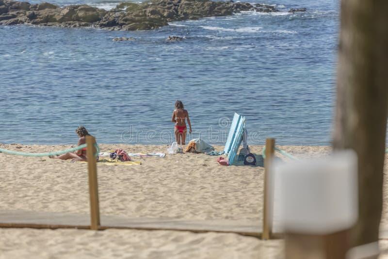 观点的两名妇女,单独海滩的,享受晒日光浴 免版税图库摄影