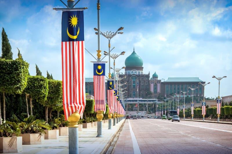 观点的总理从Seri Gemilang桥梁的` s办公室 库存图片