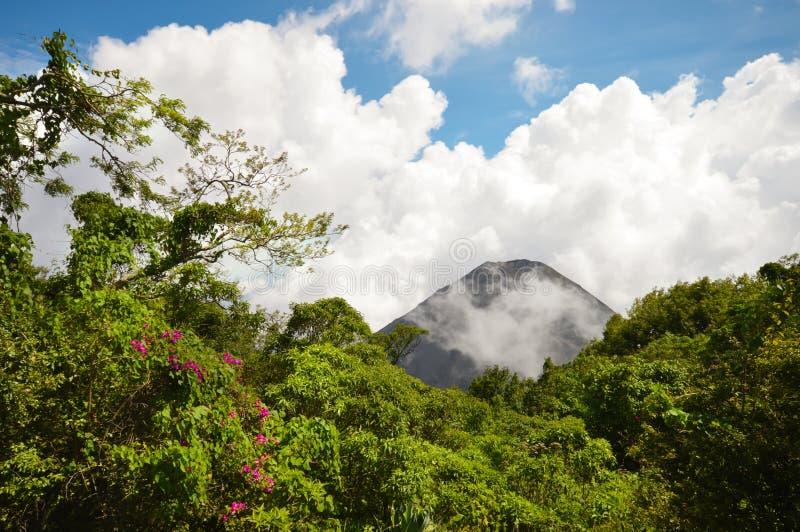从观点看见的活跃和年轻伊萨克火山火山的完善的峰顶在塞罗Verde国家公园在萨尔瓦多 图库摄影
