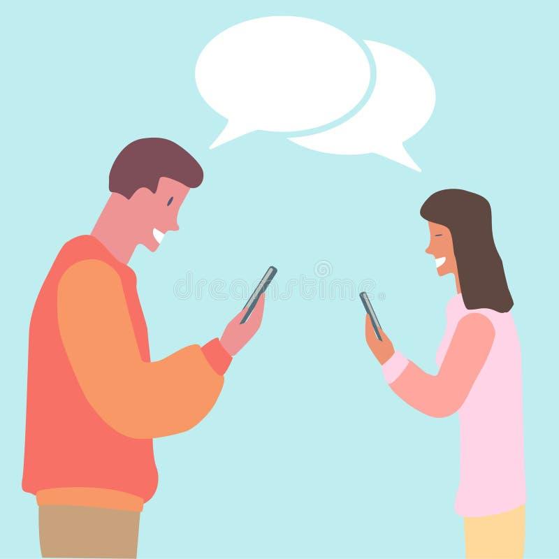 观看他们的电话平的设计的年轻夫妇 库存例证