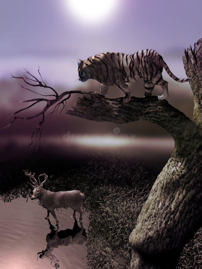 观看他的牺牲者的老虎 向量例证