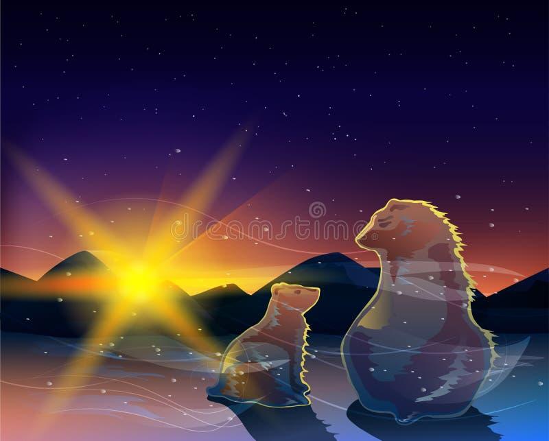 观看在冷的沙漠传染媒介的两头熊日出 向量例证