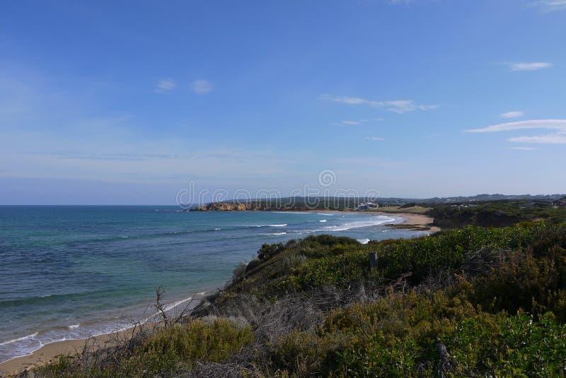 观看在海岸从海角苦难,昆士兰,澳大利亚下的南部 免版税图库摄影