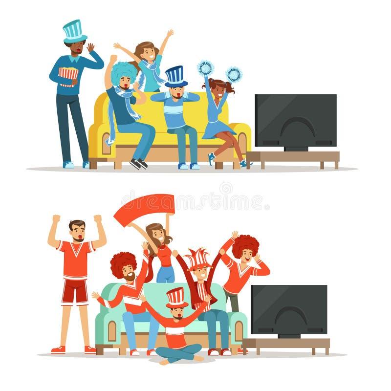 观看在电视的体育和在家庆祝胜利的小组朋友 人们在红色和蓝色,支持穿戴了他们 库存例证