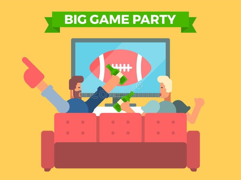 观看在电视的朋友一场橄榄球赛 向量例证