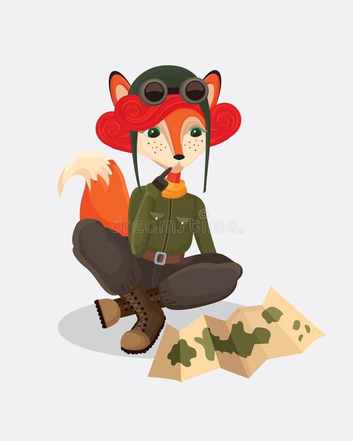 观看地图的军事狐狸飞行员 免版税库存图片
