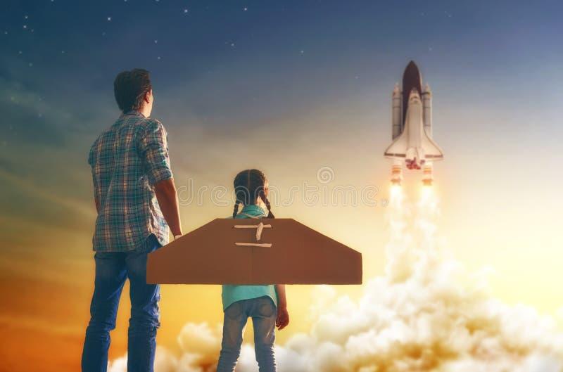 观看如何飞行太空飞船 库存图片