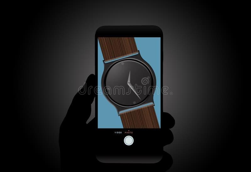 观看对 手机是手表的这个例证题材在细胞手机屏幕看见的 在手机的精确时间 免版税库存图片