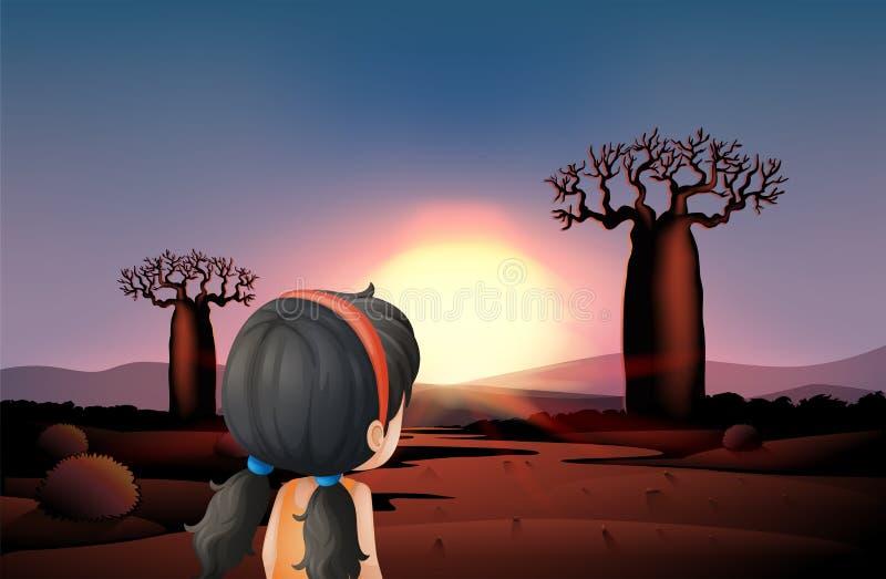 观看日落的一个女孩在沙漠 皇族释放例证