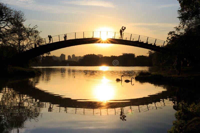 观看日落的女孩由湖,有一个心形的气球的,伊比拉布埃拉公园,圣保罗,巴西 免版税库存照片
