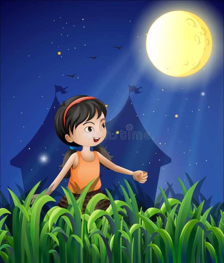 观看月亮的一个愉快的女孩 向量例证