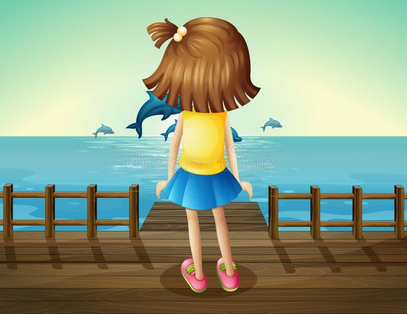 观看海豚的一个女孩 向量例证