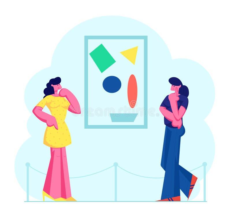 观看现代抽象绘画的陈列访客垂悬在墙壁上在当代美术馆 库存例证