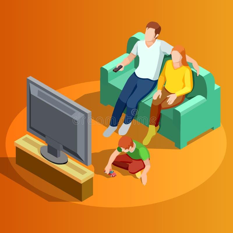 观看电视家庭等量图象的家庭 库存例证