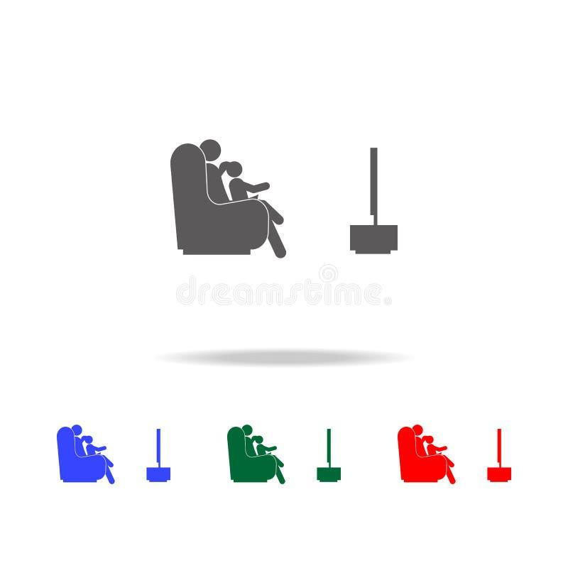 观看电视象的父亲和孩子 人的家庭生活的元素在多色的象的 优质质量图形设计象 Simp 向量例证