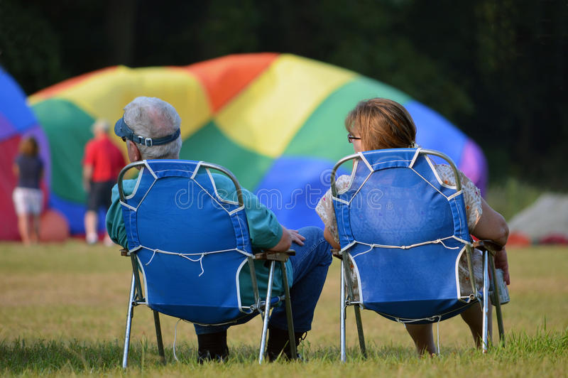 观看的热空气气球 库存照片