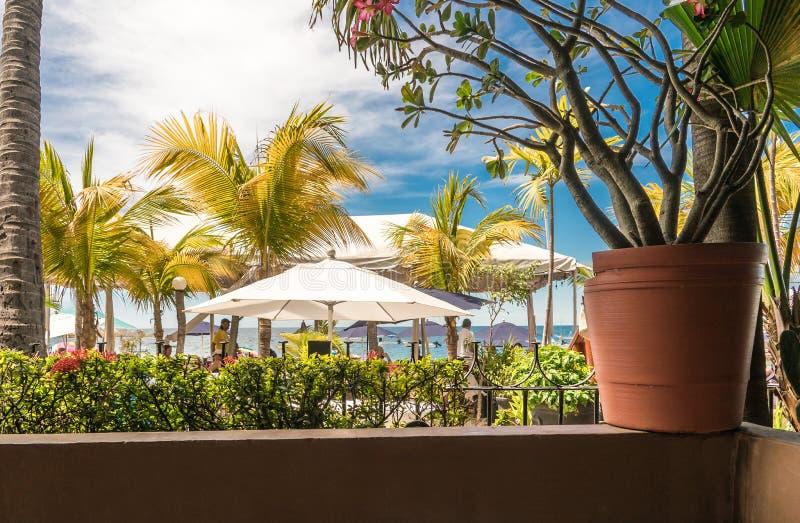 观看看对海滩就座一家靠海滨的餐馆 免版税库存图片