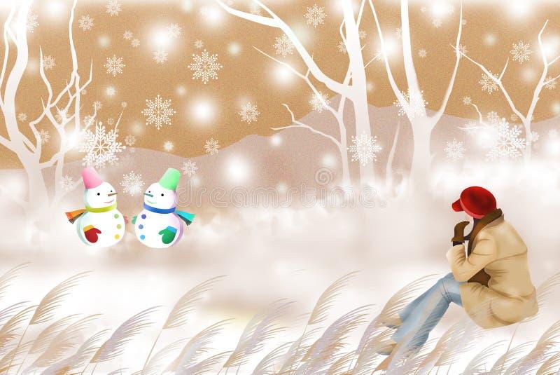 观看逗人喜爱的雪人,冬天旅行-图表绘画纹理的妇女 向量例证