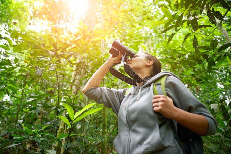 观看通过在的双筒望远镜野生鸟的年轻女性远足者 免版税库存图片
