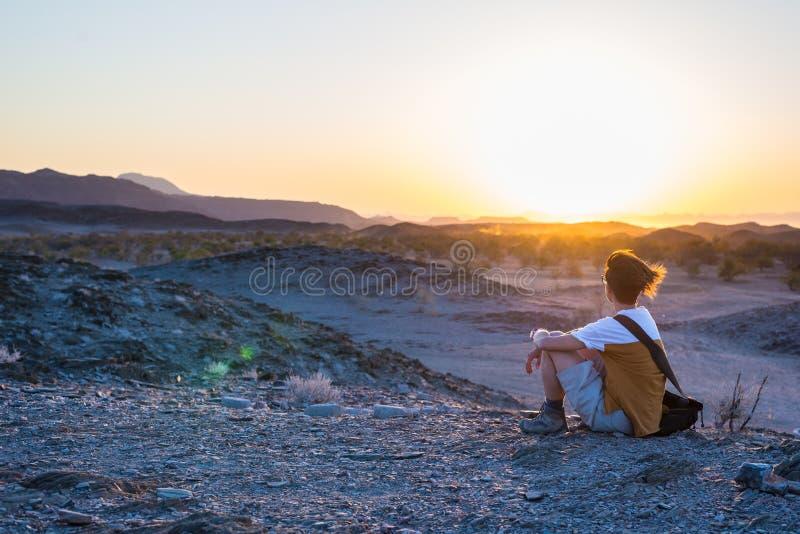 观看贫瘠谷和山的惊人的看法游人在纳米比亚沙漠,在最重要的旅行目的地中 免版税库存照片