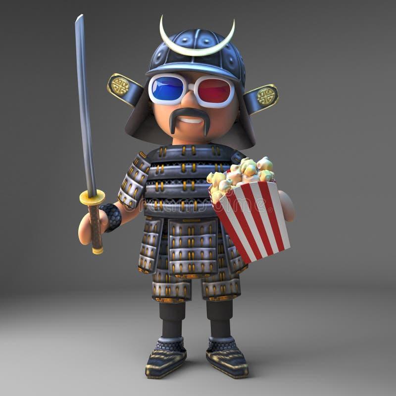 观看3d电影吃玉米花,3d的高尚的日本武士战士例证 皇族释放例证