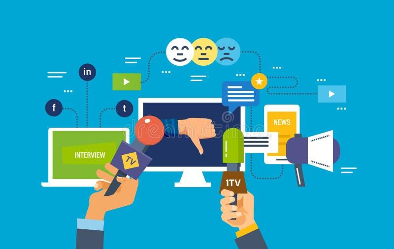 规定值、表决系统、消极态度对新闻和生活 向量例证