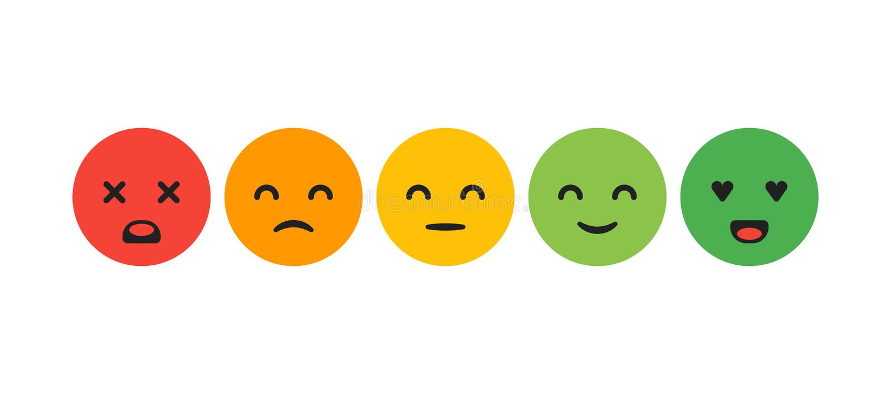 规定值满意 反馈以情感的形式 优秀,好,正常,坏可怕 向量例证