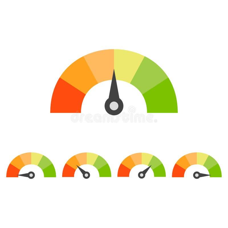 规定值车速表集合 信用评分概念 库存例证