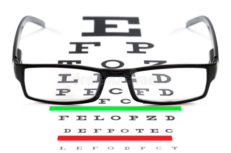 视力检查表和眼镜 图库摄影