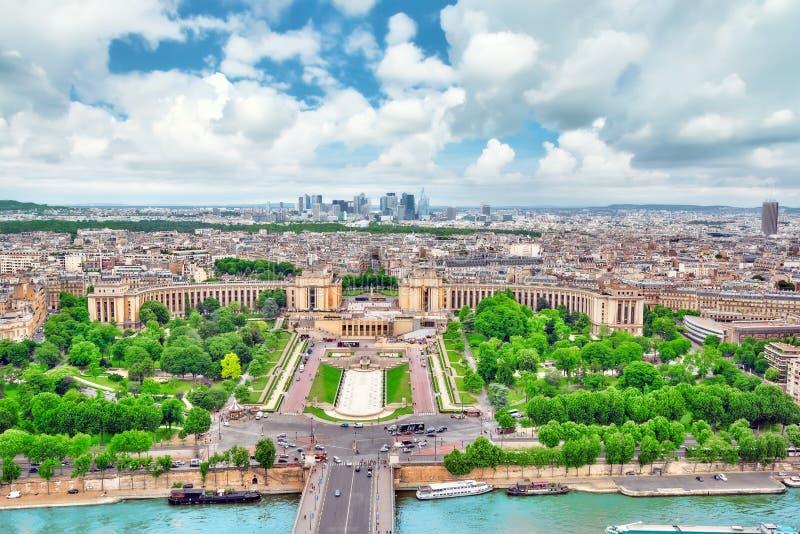 巴黎视图全景从埃佛尔铁塔的 Trocad的看法 免版税库存照片