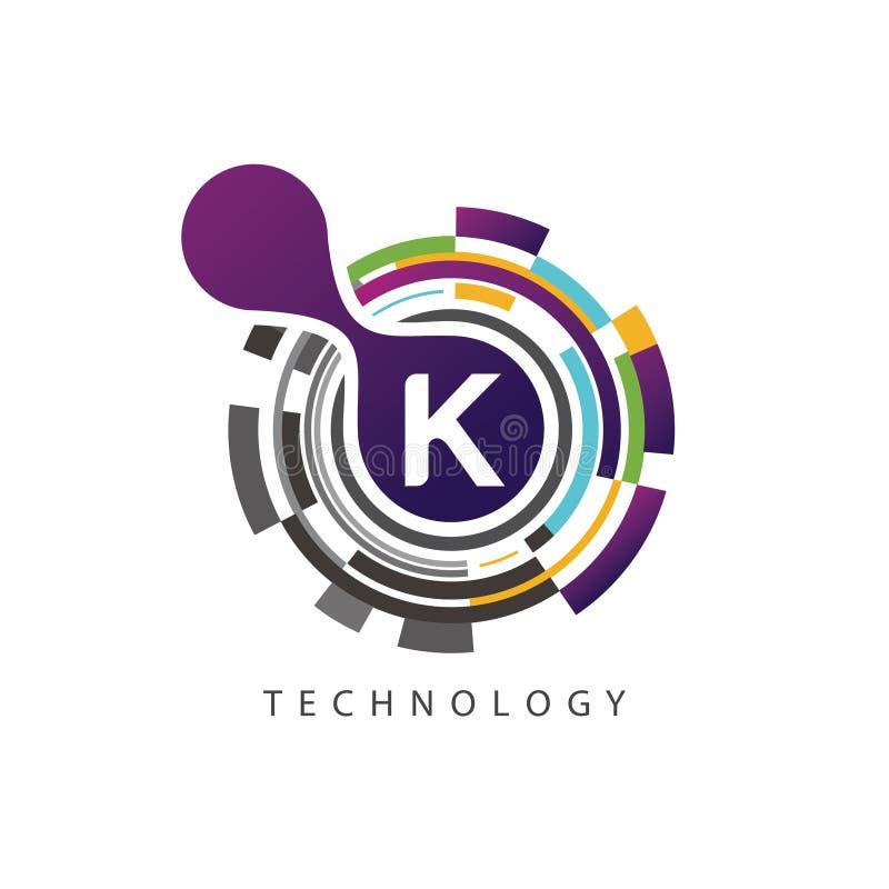 视觉映象点techno K信件商标 库存例证