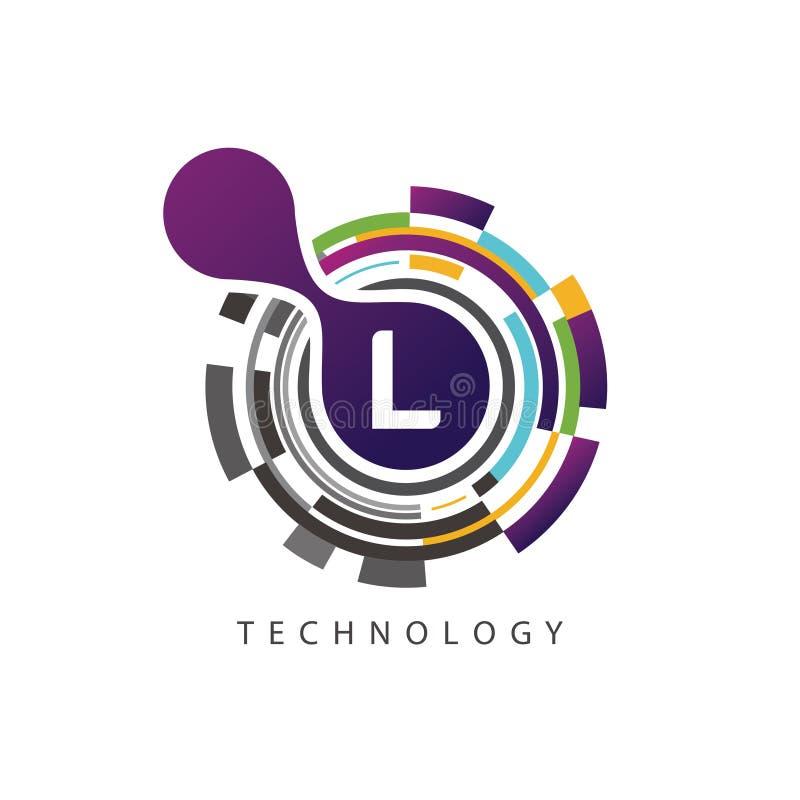 视觉映象点techno L信件商标 向量例证