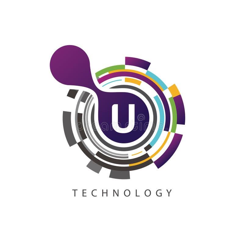 视觉映象点techno U信件商标 向量例证